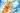 Naturaufnahme von Sanddornzweig mit leuchtenden orange farbenen Fruechten und gruenen Blaettern vor blauem Himmel